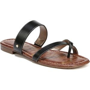 SAM EDELMAN Bernice Black Flat Slip On Sandal